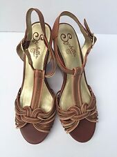 Anthropologie Seychelles Wedge Sandals, Brown, Size 9.5, Leather