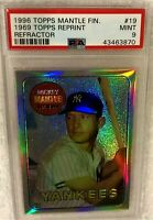 MICKEY MANTLE 1996 FINEST REFRACTOR #19 1969 TOPPS PSA 9 MINT VERY RARE YANKEES