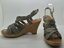 BORN Green/Grey Strappy Leather Wedge Heel Raffia Espadrille Sandals Sz 9M NEW!