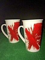 2 Set 2014 STARBUCKS 10oz Red Star Burst Firework Flower Holiday Ceramic Mug Cup