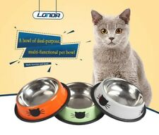 2x Stainless Steel Non Slip Pet Bowl For Cats food and Water Bowls