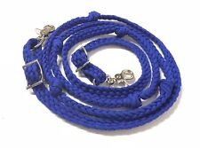 Round Barrel reins with knots Hand Braided Paracord Electric Blue horse tack