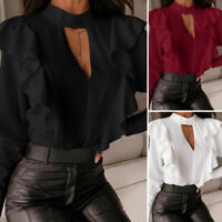 UK Women Ruffle Long Sleeve Shirt Hollow Out Blouse Ladies Party Tops Plus Size