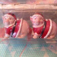 Holiday Time Santa Pig Porcelain Ceramic Salt & Pepper Shaker Shakers Set New
