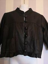 Black Leather Cropped Jacket Size 10 Bnwot