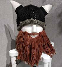 Viking crochet hat Long Beard With Horns  adult size