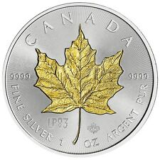 2017 1 Oz SILVER MAPLE LEAF Coin WITH 24k Gold Gilded, Blister And Coa.