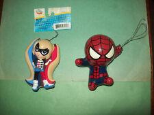 LOT OF TWO MARVEL DC COMICS FIGURES ORNAMENTS SPIDER MAN & SUPER HERO GIRLS