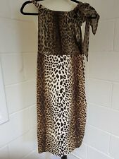 LOVE MOSHCHINO LEOPARD PRINT DRESS SHEER TOP WITH TIE ON ONE SHOULDER SALE £75