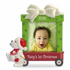 Hallmark Keepsake 2016 Baby's  First Christmas Photo Holder Red Wagon with Bear