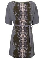 White Stuff Joyful Ladies Grey Floral Belted Tunic Dress UK 16 New