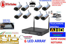 KIT VIDEOSORVEGLIANZA WIRELESS IP AHD HD 8 TELECAMERE PROFESSIONALI 6 LED ARRAY