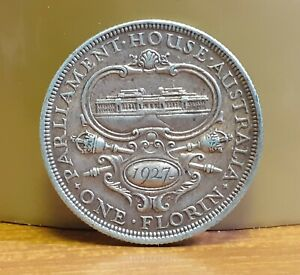 1927 .925 Silver KGV Australia 1 Florin 2 Shillings Parliament House Coin