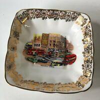 "Piccadilly Circus Vintage 1950's Dish Gold Trim Windsor England Bone China 4.25"""