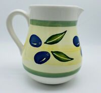 Vintage Dansk Berries Olives Ceramic Water Pitcher Dinnerware Handpainted Carafe