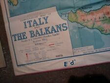 More details for vintage italy and balkans map school room folding map vgc