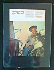 """1969 Triumph Motorcycle Bonneville in saddle""""Ready to Display"""" bike ad 1968"""