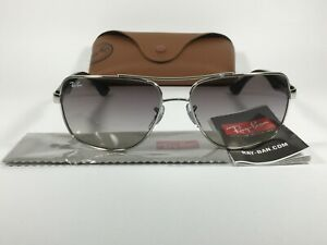 Authentic Ray-Ban Navigator Sunglasses Silver Black Gray Gradient RB3483 003/32