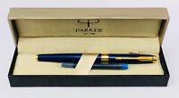 Parker Aster Frontier Matte Blue GT Gold Trim Ink Fountain Pen Gift Box Medium