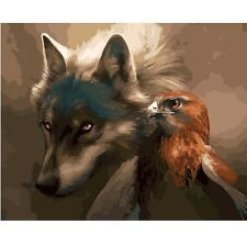 """Paint By Number Kit Wolf Eagle Animal Bird DIY Picture Art 40x50cm 16x20"""" Canvas"""