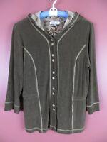 STK1914-COLDWATER CREEK Womens Slinky Hooded Jacket Brownish Green w/ Contrast L