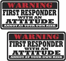 """2 - 3"""" First Responder Warning Tools Motorcycle Decal Hard Hat Sticker WS1"""