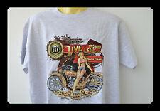 T-Shirt mit einer Harley Grau Pin Up Girl S-5XL Biker Übergröße Plus Size