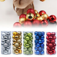 24Pc Christmas Tree Balls Baubles Glitter Hanging Xmas Party Ornament Home Decor