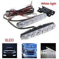 2x White 6 LED Long Strip Daytime Running Light DRL Car Fog Day Driving Lamp 18W