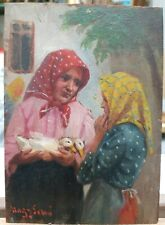 """Erno Nagy (1881-1951) Oil Painting On Wood """"Women with Ducks"""" 6""""×4"""" Hungarian"""