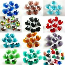 10Pcs Mixed Color Glass Crystal Heart-Shaped Loose Beads Craft Finding 14mm