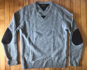 Men's Fjallraven Woods Sweater Elbow Patch 100% Wool Crew Neck Gray Sz Medium M
