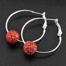 Red Silver Tone Shamballa Bead 1 Row Hoop Earrings 4cm NEW!! FREE P&P!!