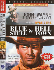 Great Westerns Blue Steel + Hell Town 2 Films on 1 DVD - John Wayne Eleanor Hunt