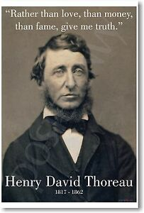 """Henry David Thoreau """"Rather Than Love.. Give Me Truth""""  NEW Famous Person POSTER"""