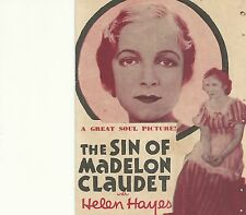 THE SIN OF MADELON CLAUDET(1931)HELEN HAYES ORIGINAL PRESSBOOK HERALD