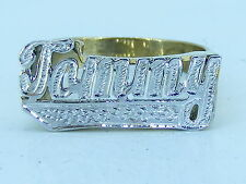 PERSONALIZED 14K GOLD PLATED FLAT NAME RING FULL PAVE  ANY NAME UP TO 7 LETTERS