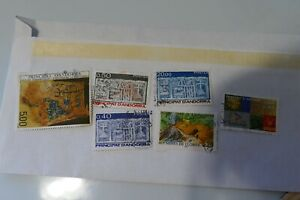 6 Andorra used postage stamps philately postal mail Philatelic