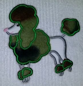 POODLE DOG SKIRT APPLIQUE PATCH IRON ON CAMOUFLAGE 5 INCH X 5 INCH