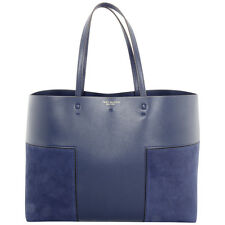 Tory Burch Navy Block-T Tote Suede and Leather Ladies Handbag 31106466