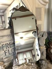 Antique Vtg Ornate Carved Wood Frame French Country Shabby Wall Mirror 26x13