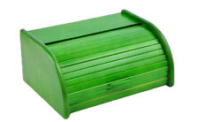 Wooden Bread Box Apollo Roll Top Bin Storage Loaf Kitchen Large - Green