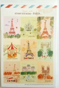 Paris Stamp Stickers, Eiffel Tower, Notre Dame, Arc De Triomphe, For School