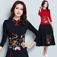 Chinese Style Embroidery Womens Stretch Cotton Long Sleeve T-shirt Folk Top Slim