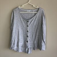 Habitat Women's Size M Medium Grey White Striped Long Sleeve Tunic Top Lagenlook