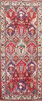 Antique Geometric Animal Design Bakhtiari Oriental Hand-knotted Runner Rug 4x10