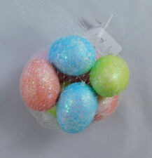 NEW Ashland Easter Decorative Hanging Eggs Bright Glitter Sparkle Eggs Set of 8