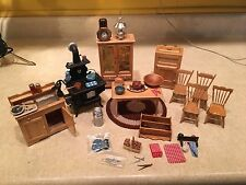 Dollhouse Kitchen Furniture Lot, Table & Chairs, Stove, Cupboard, Dry Sink MORE!
