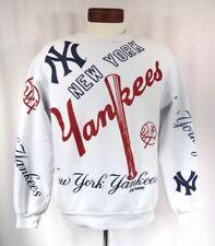 New York Yankees Sweatshirt All Over Print Logo 80's Vintage Hip Hop Crewneck