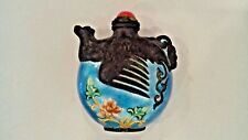 BEAUTIFUL CHINESE SNUFF BOTTLE WITH BIRD ENAMEL FLOWER DESIGN & CORAL STOPER